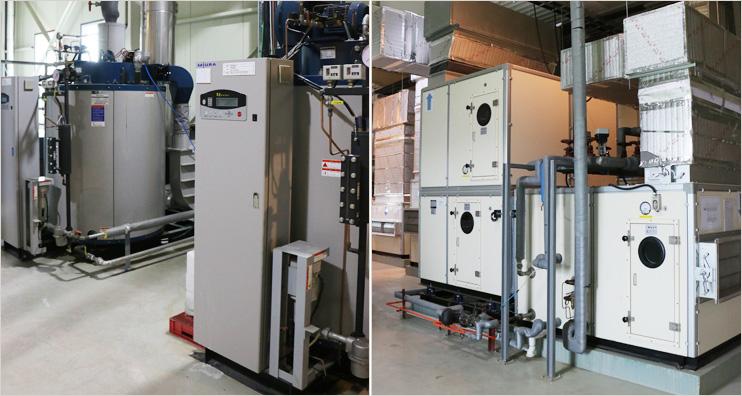 한국맥널티 주요 설비 (스팀 발생 시스템 / 최신 공기조화 시스템)